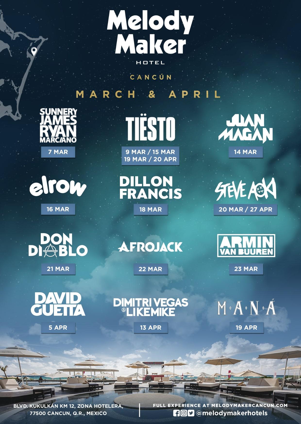 Мероприятия в отеле Melody Maker Cancun в марте - апреле 2019 года